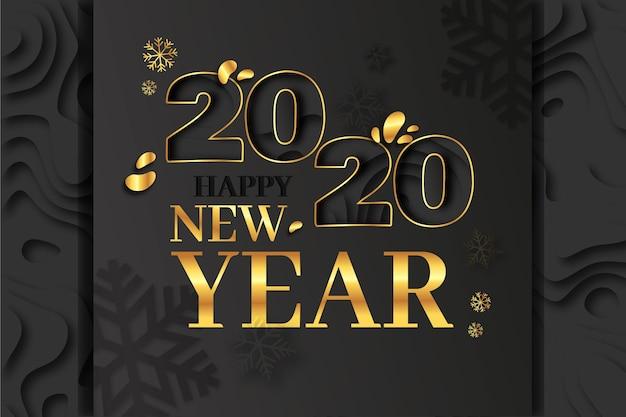 Nieuwe jaar 2020-achtergrond in papierstijl