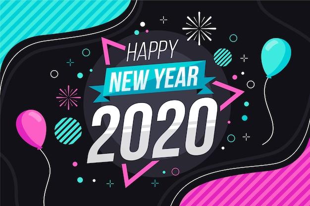 Nieuwe jaar 2020-achtergrond in plat ontwerp