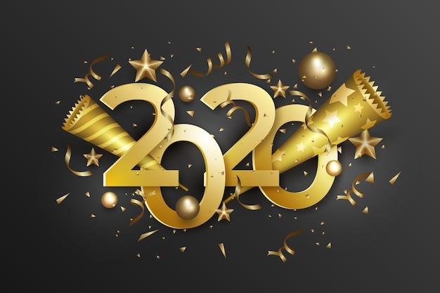 Nieuwe jaar 2020-achtergrond met realistische gouden decoratie