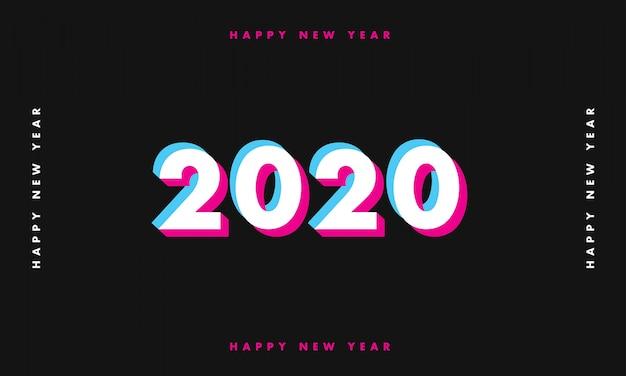 Nieuwe jaar 2020 glitch donkere achtergrond