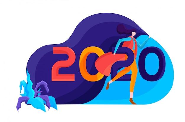 Nieuwe jaar 2020 vlakke afbeelding