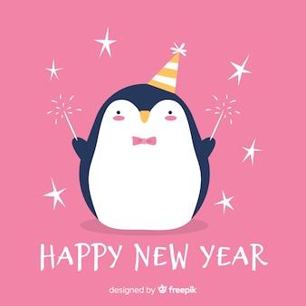 Nieuwe jaar de hand getekende pinguïn achtergrond