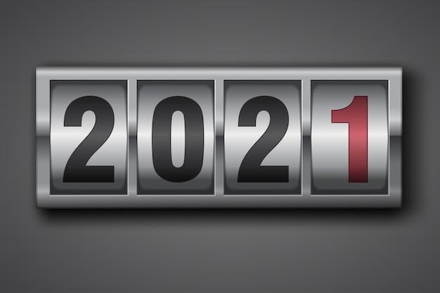Nieuwe jaar mechanische teller schakelnummers