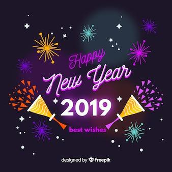 Nieuwe jaar neon vuurwerk achtergrond