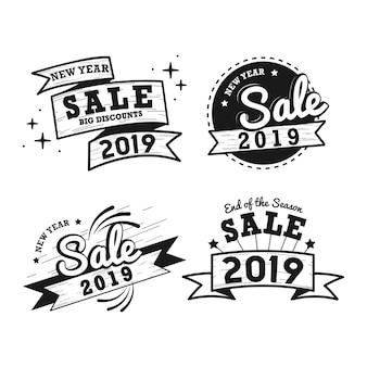 Nieuwe jaar verkoop badge vector set