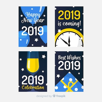 Nieuwe jaar vlakke elementen kaarten pack