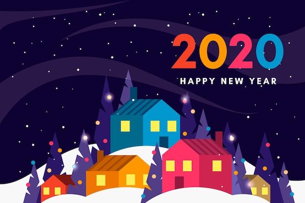 Nieuwe jaarachtergrond in vlak ontwerp