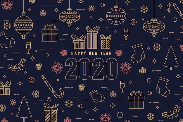 Nieuwe jaarachtergrond met cadeaus