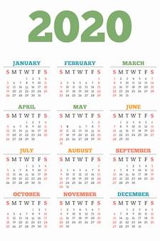 Nieuwe jaarkalender 2020, vlakke stijl