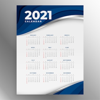 Nieuwe jaarkalender in zakelijke stijl