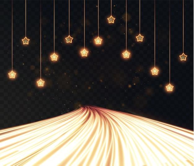 Nieuwe kersthangslinger 2022 van gouden sterren en lichtgevende gouden lijnen kerstlichtstof