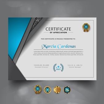 Nieuwe luxe certificaat van prestatie-sjabloon