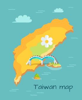 Nieuwe maanbrug gemarkeerd op de kaart van taiwan