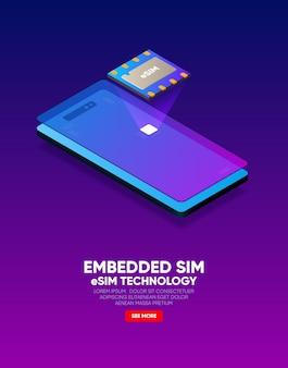 Nieuwe mobiele communicatie, esim-kaartchiptechnologie. geïntegreerd sim-concept