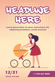 Nieuwe moeder wandelen met kinderwagen flyer-sjabloon