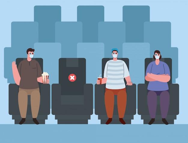 Nieuwe norm van sociale afstand in de openbare ruimte, bioscooptheater tijdens coronavirus covid 19, mensen met medisch masker, afstand houden tegen verspreiding van covid 19