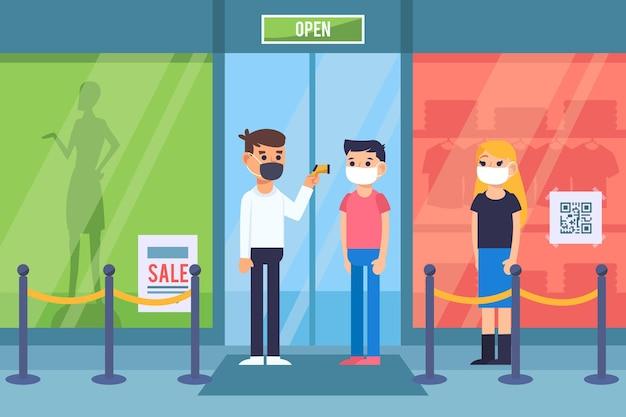 Nieuwe normaal bij de ingang van winkels