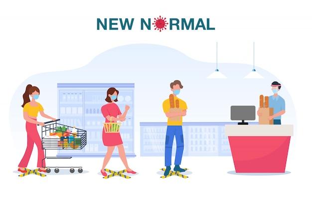 Nieuwe normale conceptillustratie met mensen die gezichtsmasker dragen en afstand houden in supermarkt om covid-19 coronavirus-griepuitbraak te beschermen