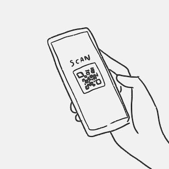 Nieuwe normale doodle vector, qr-code scannen concept
