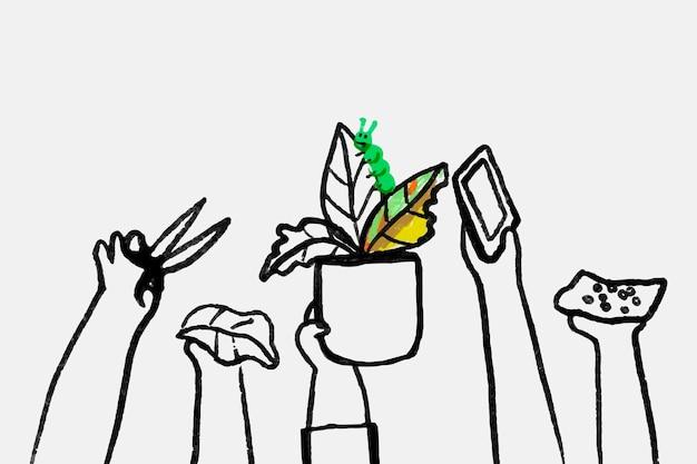 Nieuwe normale hobby doodle vector, met plant ouder