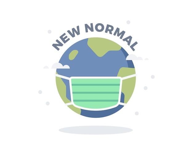Nieuwe normale illustratie met schattig aardebolpictogram met chirurgisch masker of gezichtsmasker