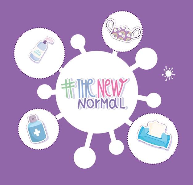 Nieuwe normale levensstijl bescherming ontsmettingsmiddel hand alcohol spray tissuepapier cartoon afbeelding