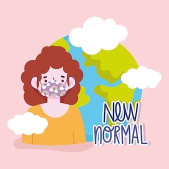 Nieuwe normale levensstijl, cartoon vrouw met beschermend masker en wereld vectorillustratie