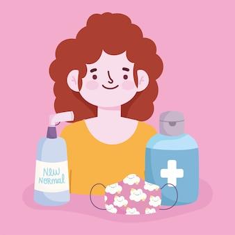 Nieuwe normale levensstijl, cartoon vrouw met masker alcohol en gel vectorillustratie