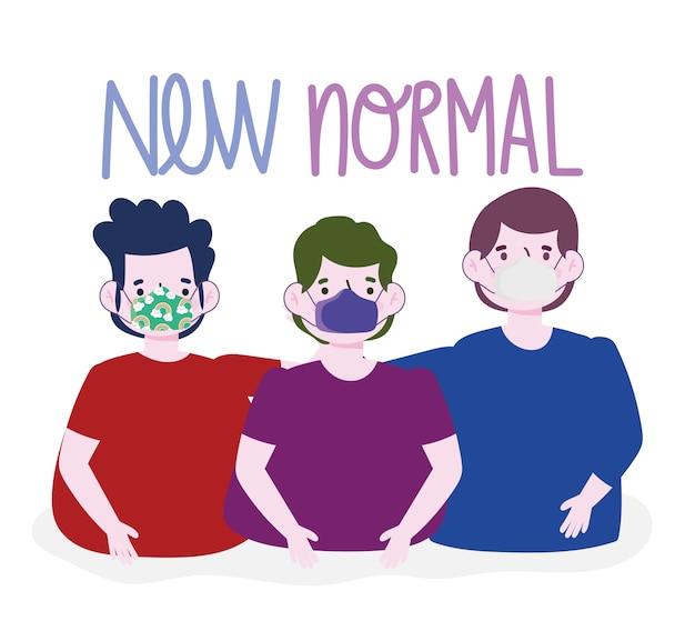 Nieuwe normale levensstijl, groep jonge mannen met beschermende maskers vector illustratie