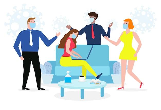 Nieuwe normale levensstijl op het werk mensen uit het bedrijfsleven houden sociale afstand, stop covid-19 coronavirus
