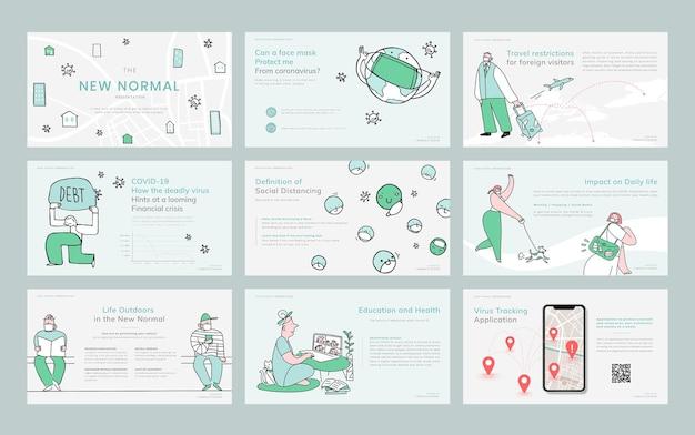 Nieuwe normale levensstijl sjabloon zakelijke presentatie doodle illustratie set