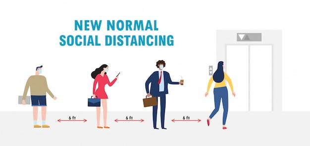 Nieuwe normale levensstijl sociaal afstandsconcept met zakenmensen die medische maskers dragen