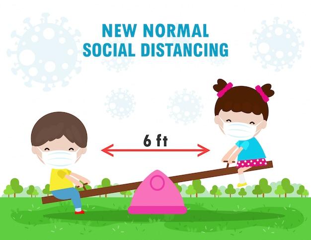 Nieuwe normale levensstijl, sociaal afstandsconcept