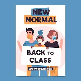 Nieuwe normale postersjabloon geïllustreerd