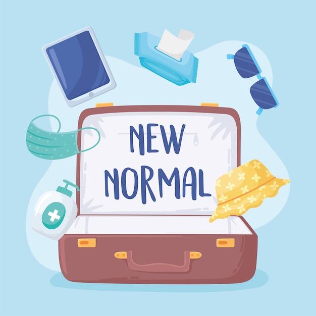 Nieuwe normale reiskoffer met maskerglazen alcohol desinfecteert illustratie