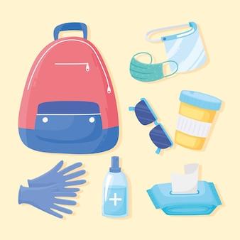 Nieuwe normale reizen hygiëne zak handschoenen geneeskunde masker pictogrammen illustratie