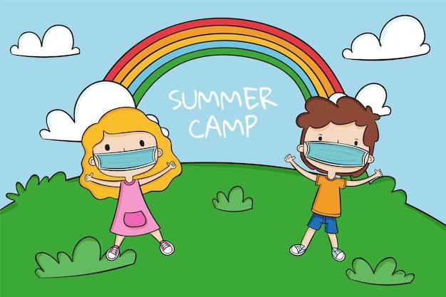 Nieuwe normale scènes in zomerkampen en regenboog
