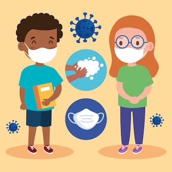 Nieuwe normale schoolillustratie van meisje en jongensjong geitje met gezichtsmaskers