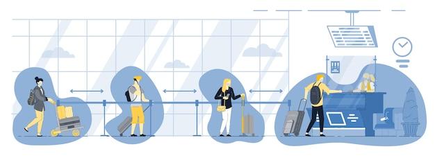 Nieuwe normale veilige persoon sociale afstand nemen bij luchthavenpoort