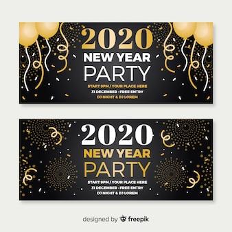 Nieuwe partij 2020-banners in plat ontwerp