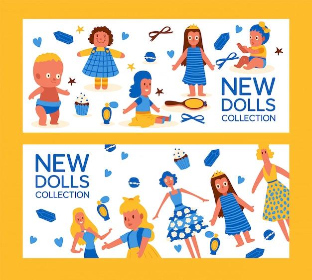 Nieuwe poppen collectie set van banner