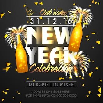 Nieuwe poster jaar feest met gouden flessen en confetti
