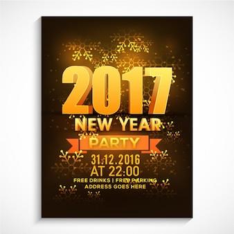 Nieuwe poster jaar feest met gouden sneeuwvlokken