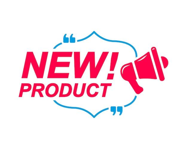 Nieuwe productlabels tekstballonnen met megafoonpictogram banner voor social media website faq