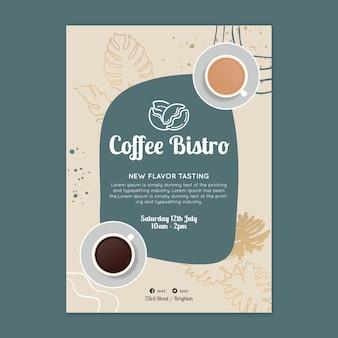 Nieuwe smaak koffie bistro poster sjabloon