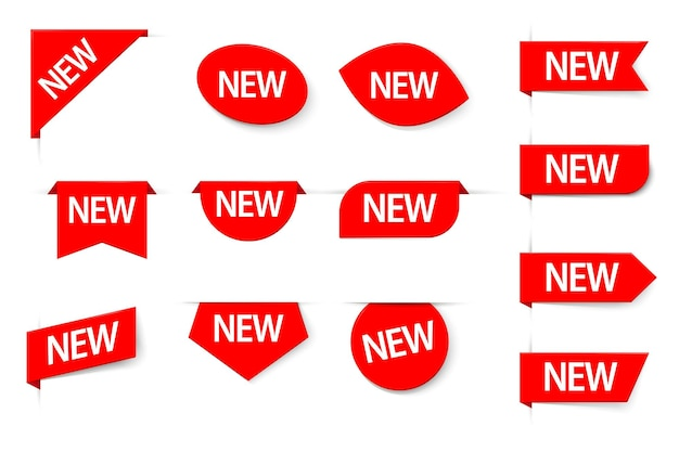 Nieuwe staat opmerking tag mark, merchandise sticker label set. beschrijvende verkoop exclusieve product aankomst reclame speciale retail rode etiquette vectorillustratie geïsoleerd op een witte achtergrond