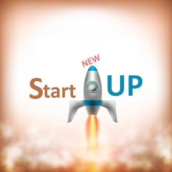 Nieuwe startup-tekst met flying rocket