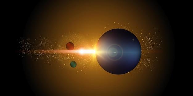 Nieuwe ster heldere zon vanuit de ruimte.