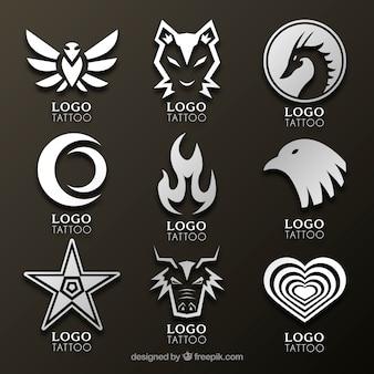 Nieuwe stijl tattoo studio logo collectio