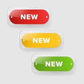 Nieuwe tagbanner en glanzende badges ontwerpen.